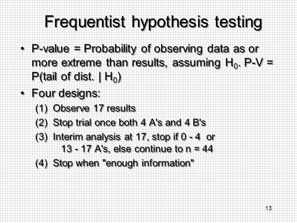 Frequentist hypothesis testing