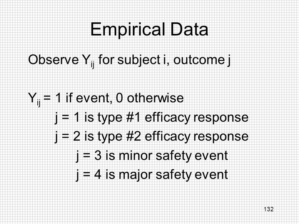 Empirical Data Observe Yij for subject i, outcome j