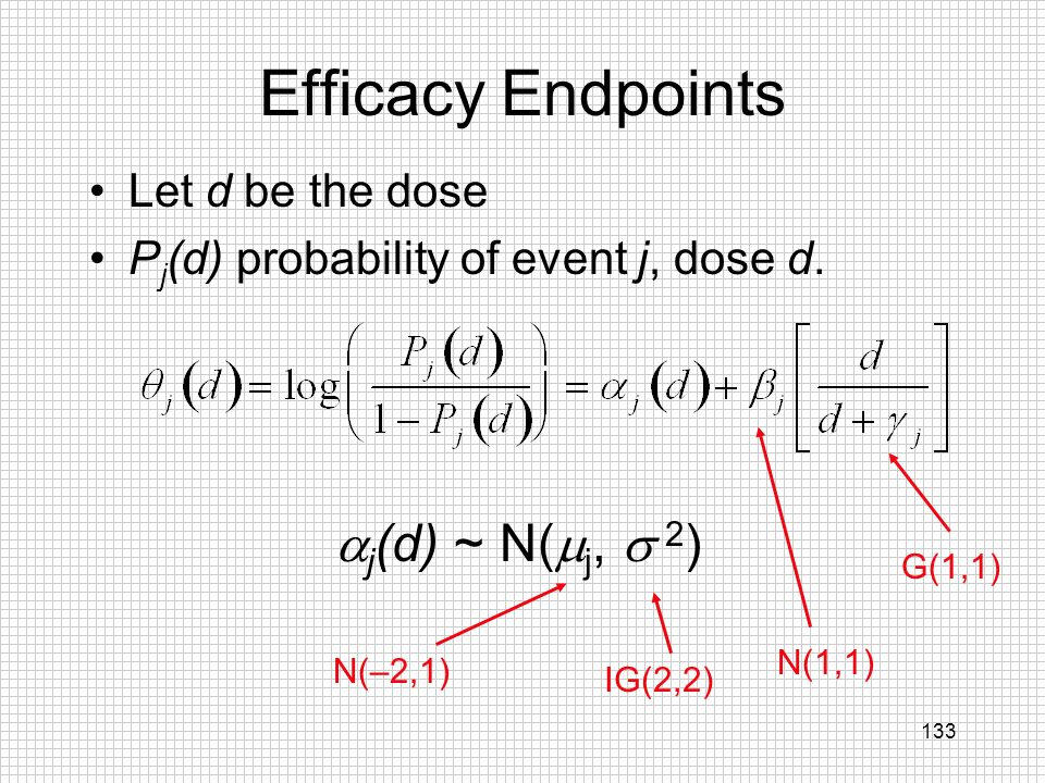 Efficacy Endpoints j(d) ~ N(j, 2) Let d be the dose