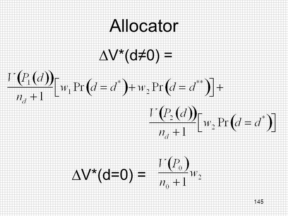 Allocator V*(d≠0) = V*(d=0) =