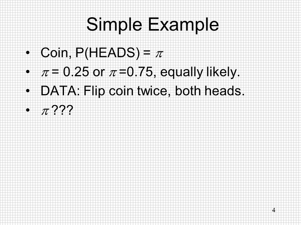 Simple Example Coin, P(HEADS) = p p = 0.25 or p =0.75, equally likely.