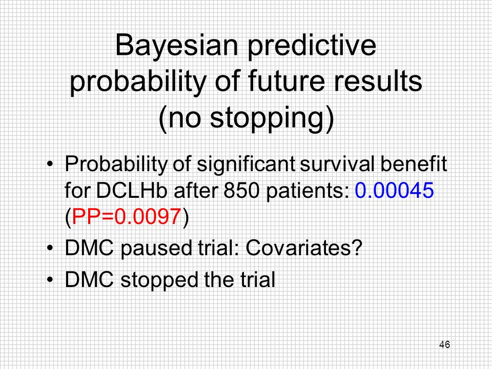 Bayesian predictive probability of future results (no stopping)