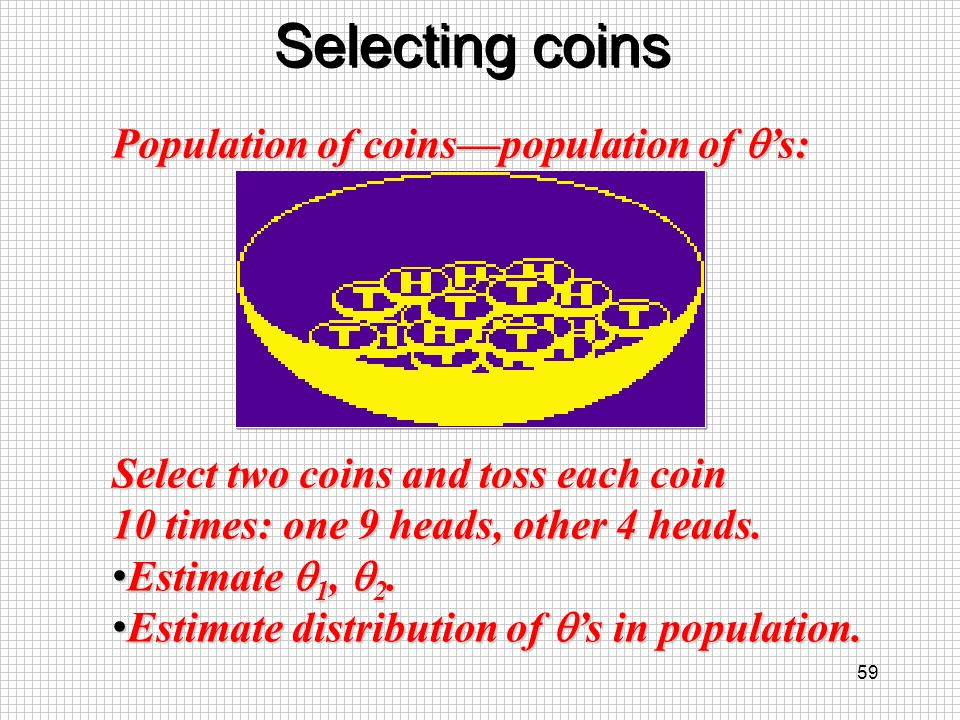 Selecting coins Population of coins—population of q's: