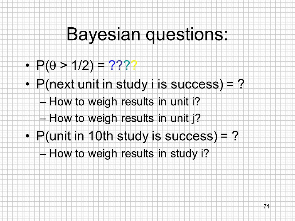 Bayesian questions: P(q > 1/2) =