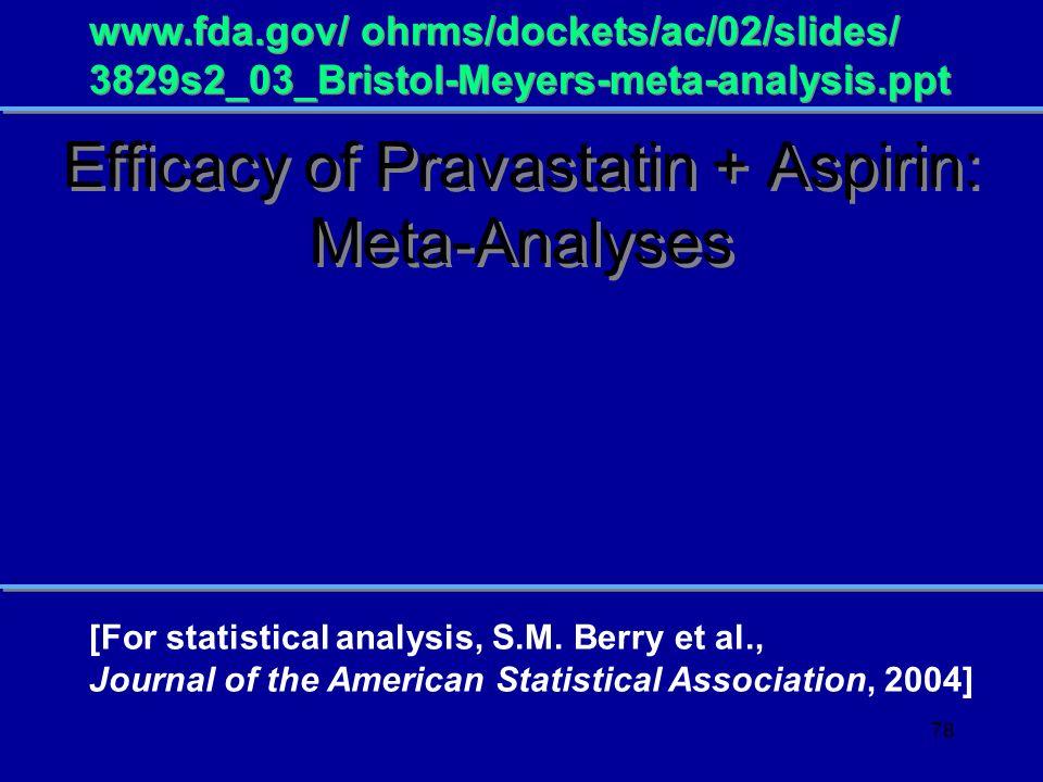 Efficacy of Pravastatin + Aspirin: Meta-Analyses