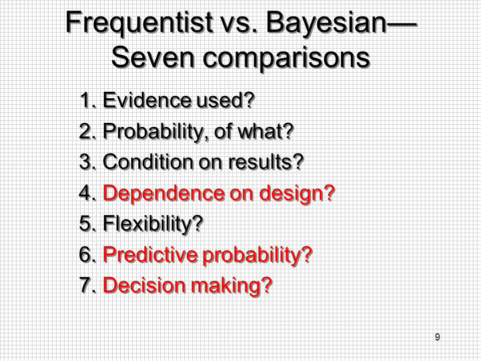 Frequentist vs. Bayesian— Seven comparisons