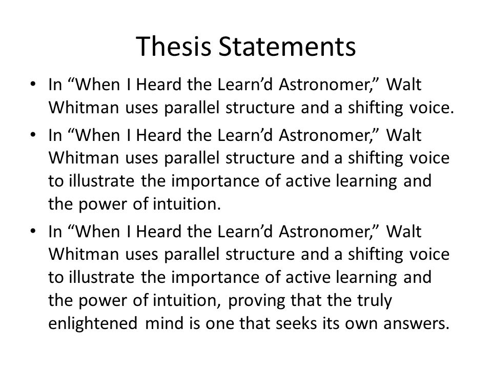 Parallel thesis statement structures