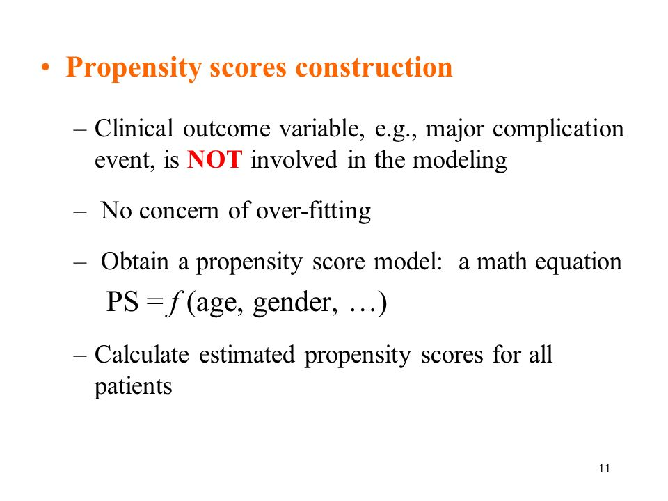 Propensity scores construction