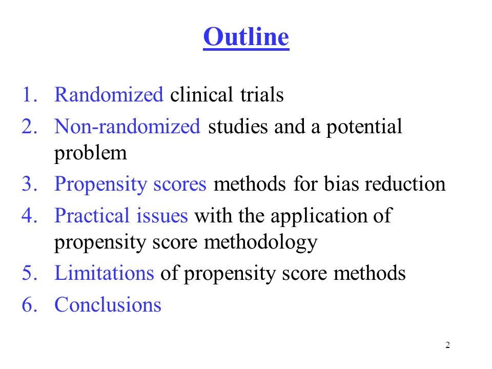 Outline Randomized clinical trials