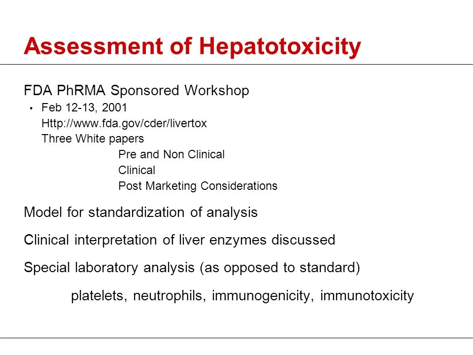 Assessment of Hepatotoxicity