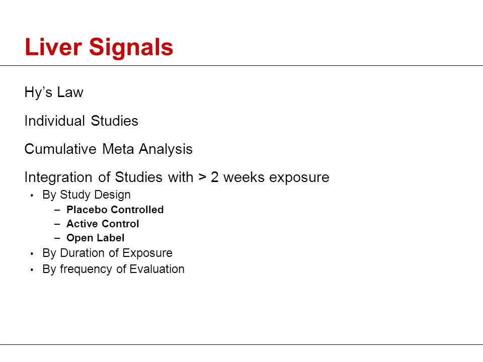 Liver Signals Hy's Law Individual Studies Cumulative Meta Analysis