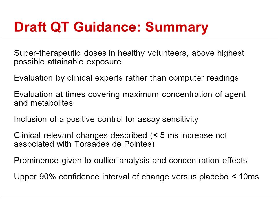 Draft QT Guidance: Summary