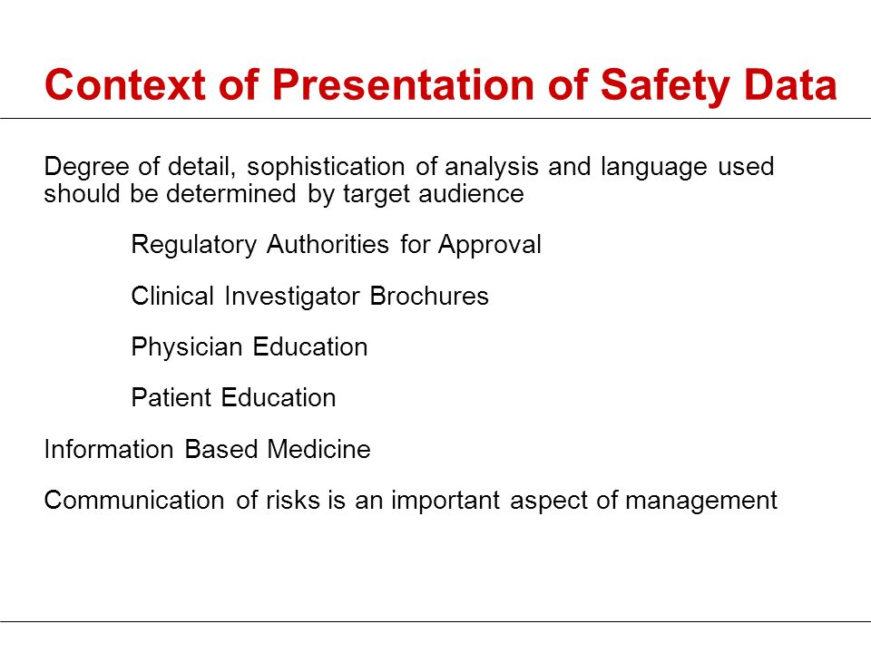 Context of Presentation of Safety Data
