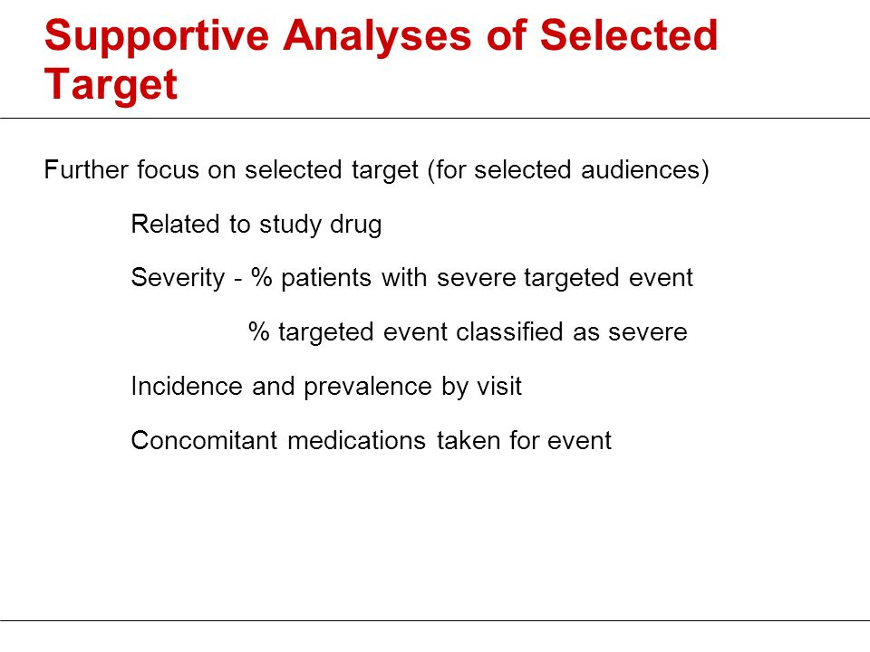 Supportive Analyses of Selected Target