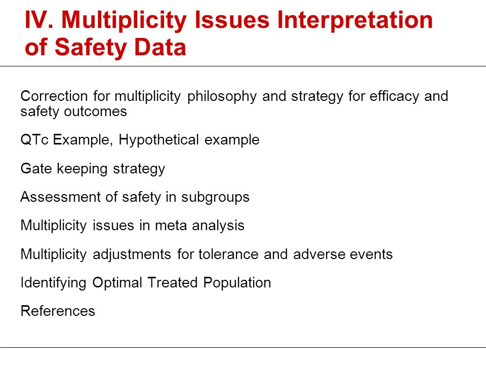 IV. Multiplicity Issues Interpretation of Safety Data
