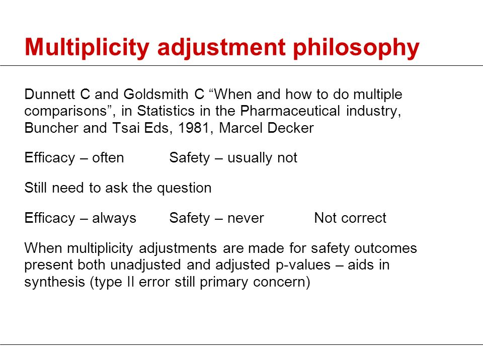 Multiplicity adjustment philosophy