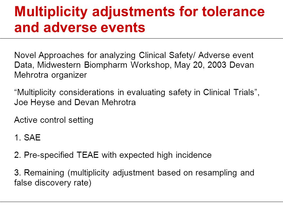 Multiplicity adjustments for tolerance and adverse events