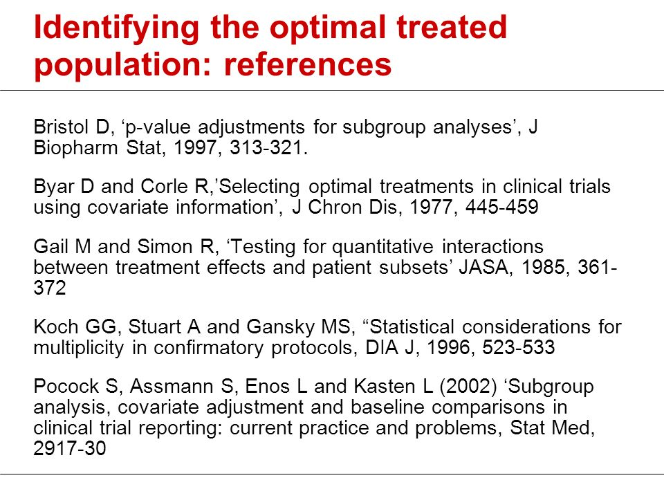 Identifying the optimal treated population: references