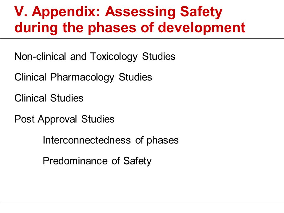 V. Appendix: Assessing Safety during the phases of development