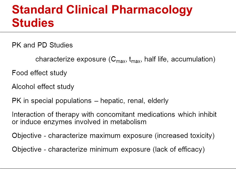 Standard Clinical Pharmacology Studies