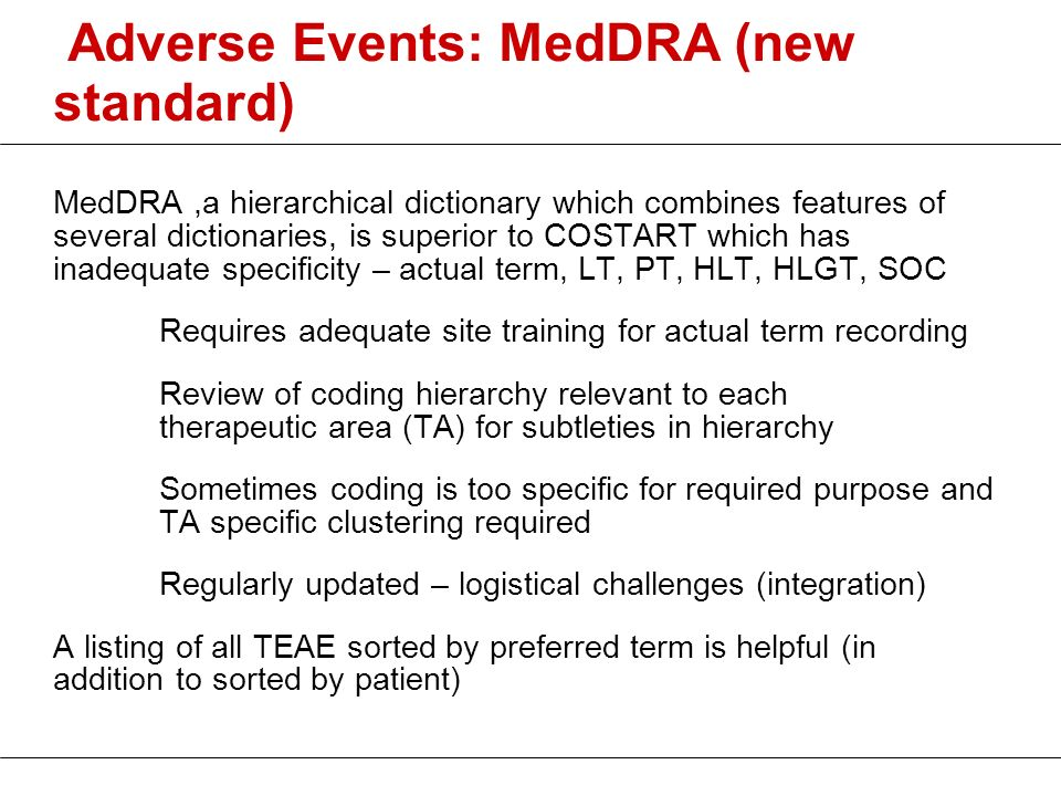 Adverse Events: MedDRA (new standard)