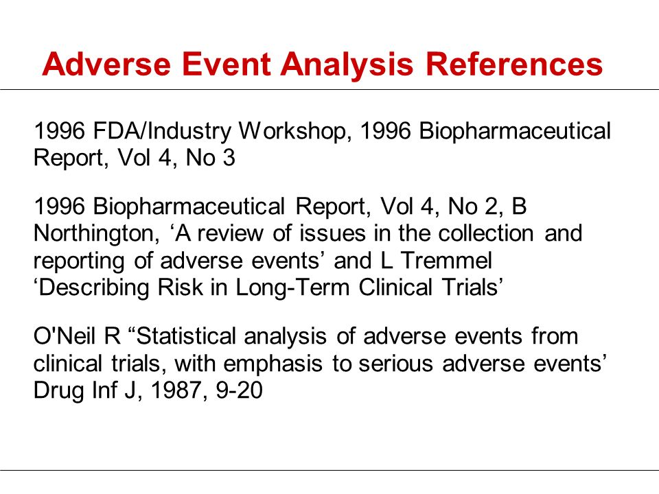 Adverse Event Analysis References