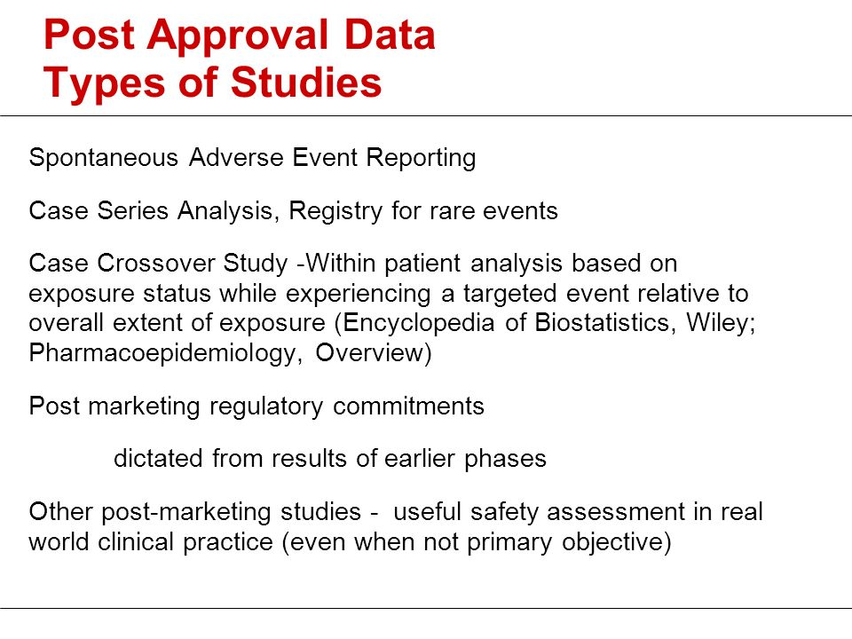 Post Approval Data Types of Studies