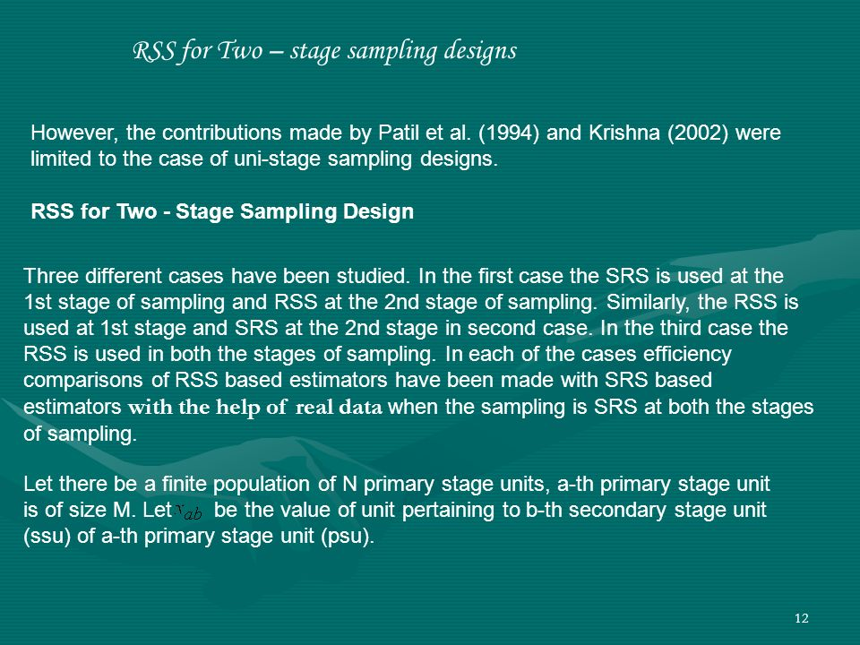 RSS for Two – stage sampling designs