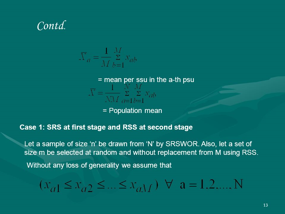 Contd. = mean per ssu in the a-th psu = Population mean