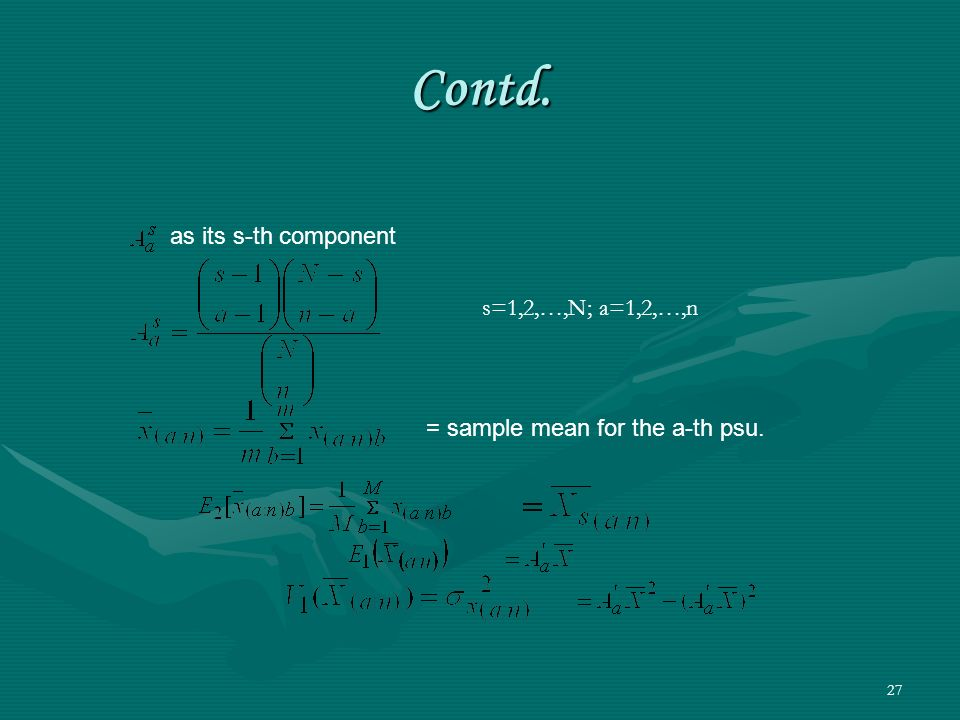 Contd. as its s-th component s=1,2,…,N; a=1,2,…,n