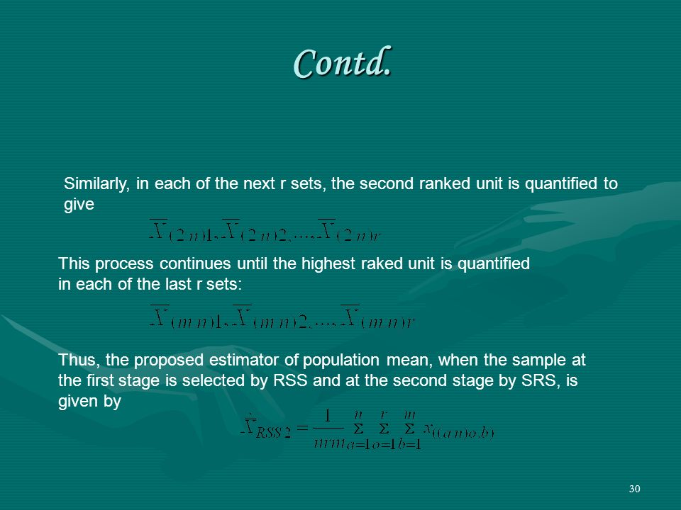 Contd. Similarly, in each of the next r sets, the second ranked unit is quantified to give.