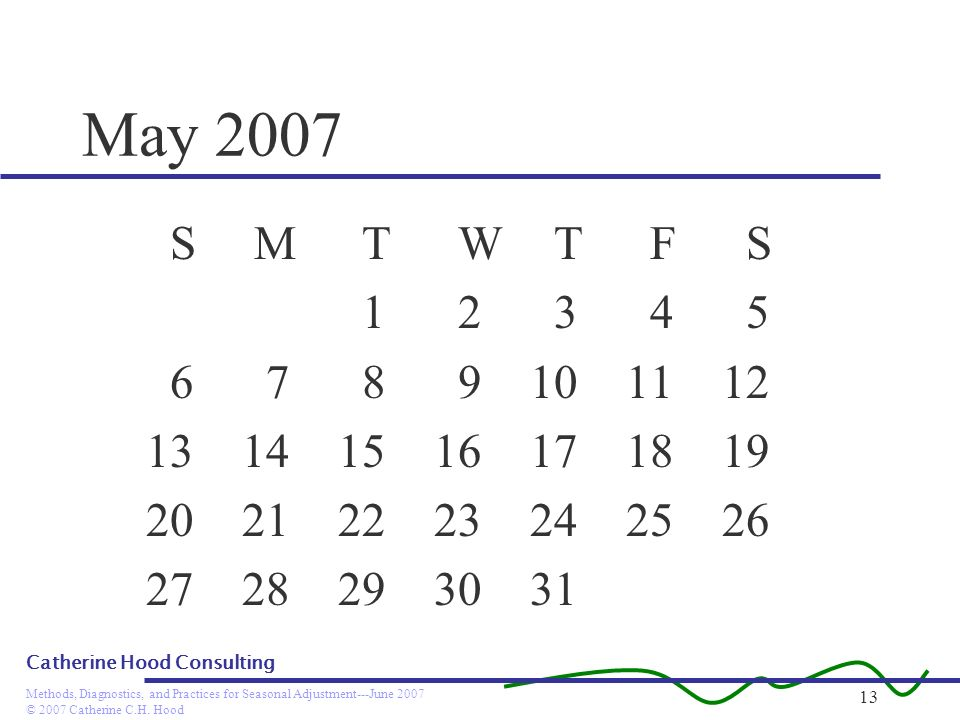 May 2007 S M T W T F S. 1 2 3 4 5. 6 7 8 9 10 11 12. 13 14 15 16 17 18 19.