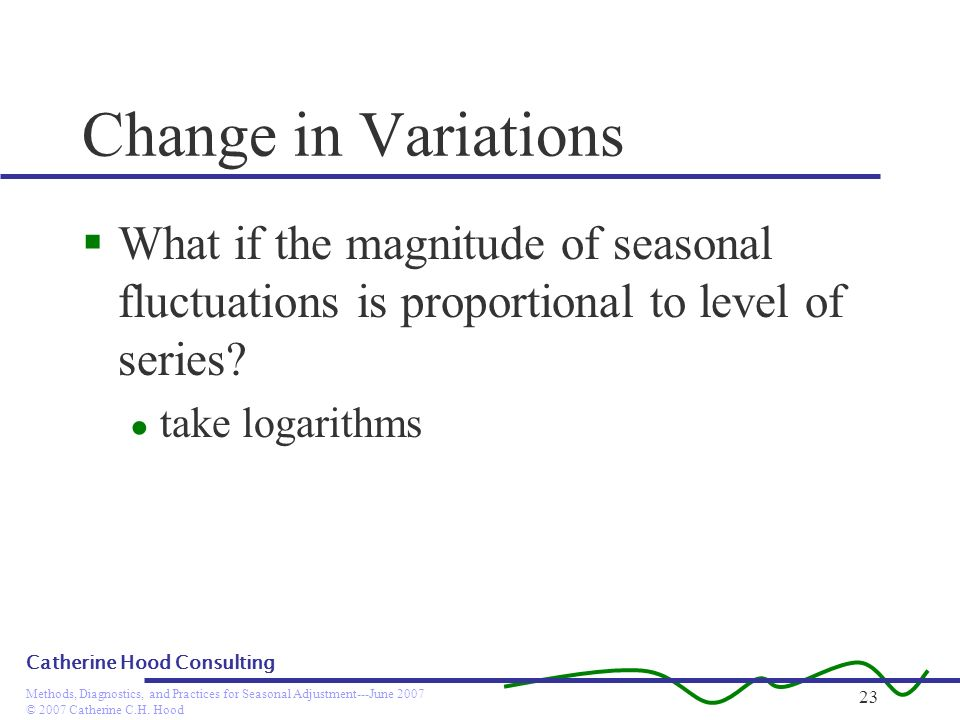 Change in Variations What if the magnitude of seasonal fluctuations is proportional to level of series