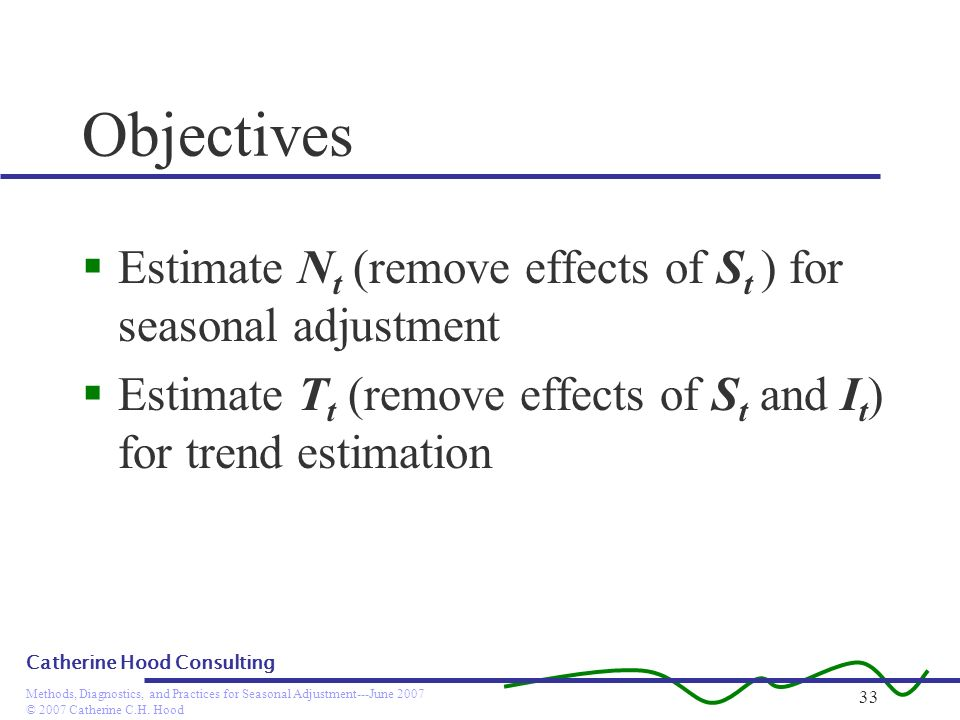 Objectives Estimate Nt (remove effects of St ) for seasonal adjustment