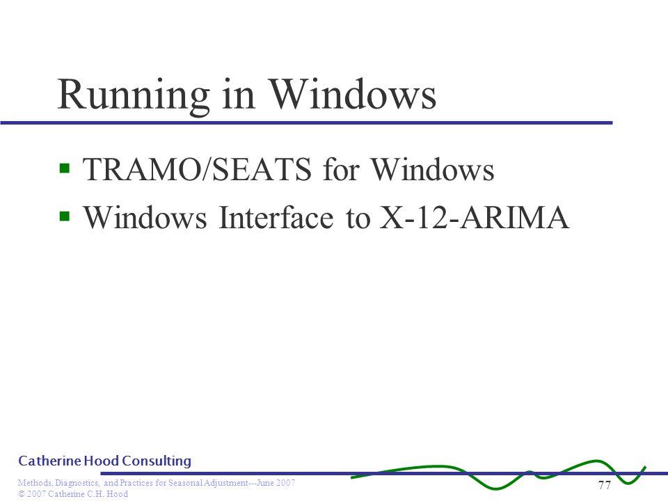 Running in Windows TRAMO/SEATS for Windows