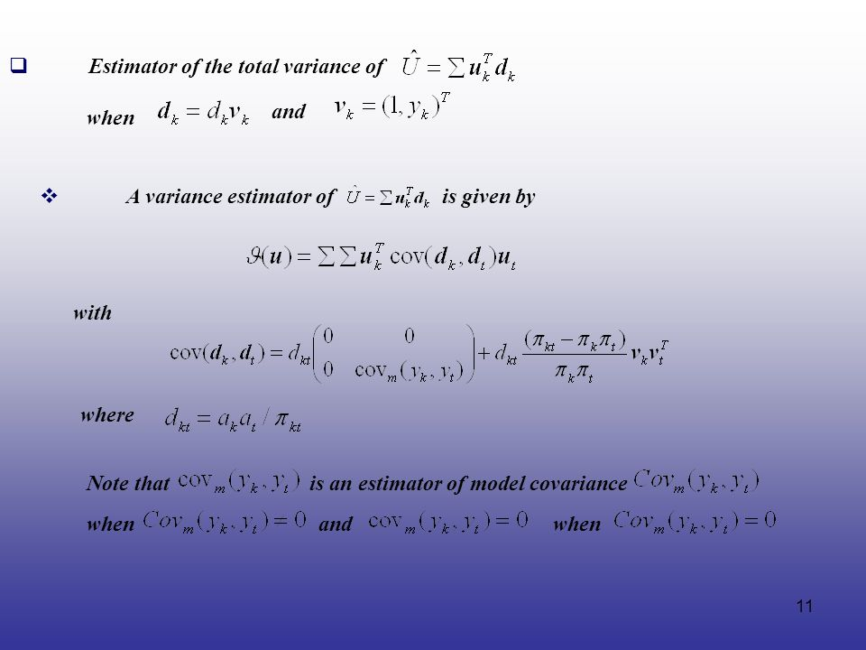 Estimator of the total variance of