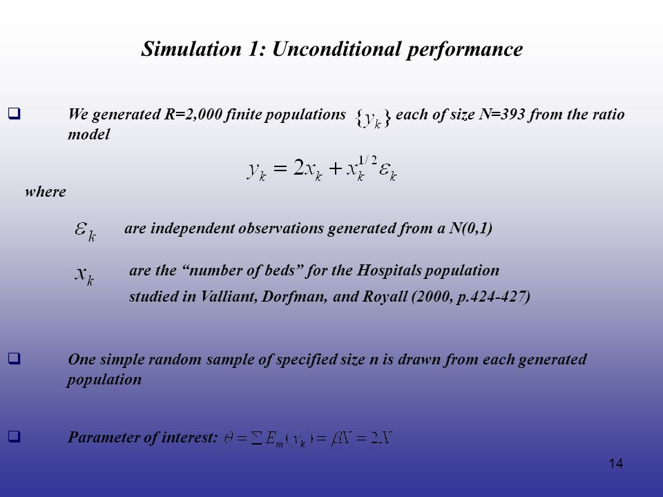 Simulation 1: Unconditional performance