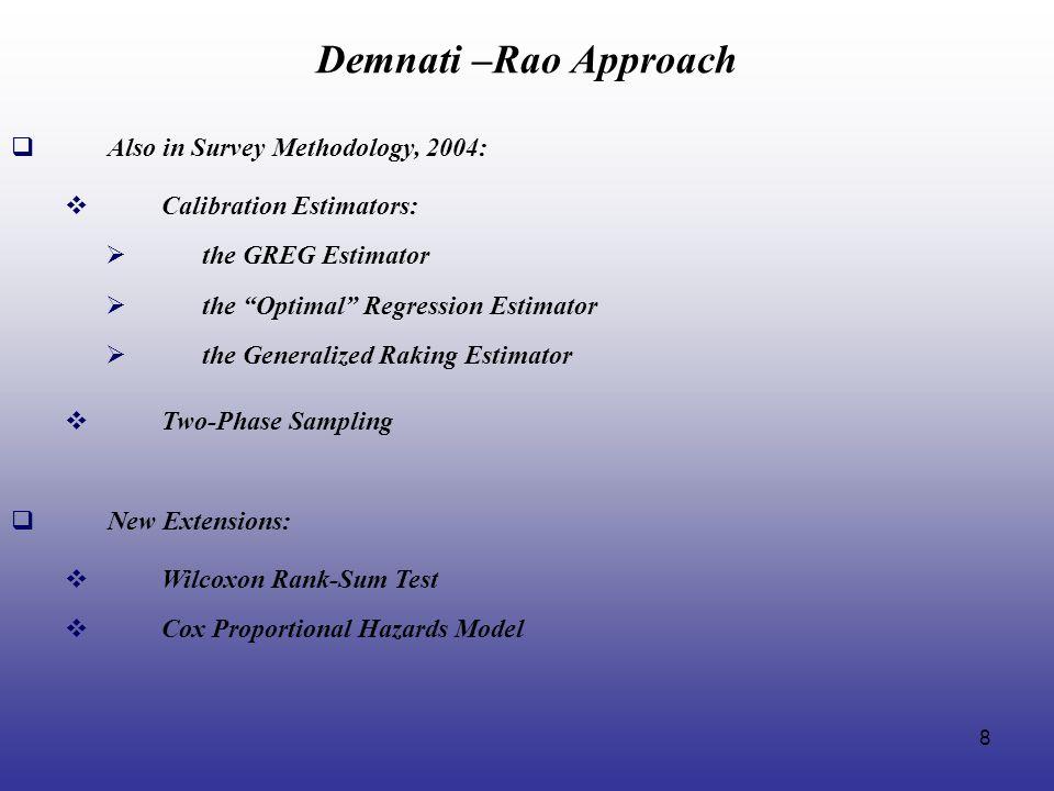 Demnati –Rao Approach Also in Survey Methodology, 2004: