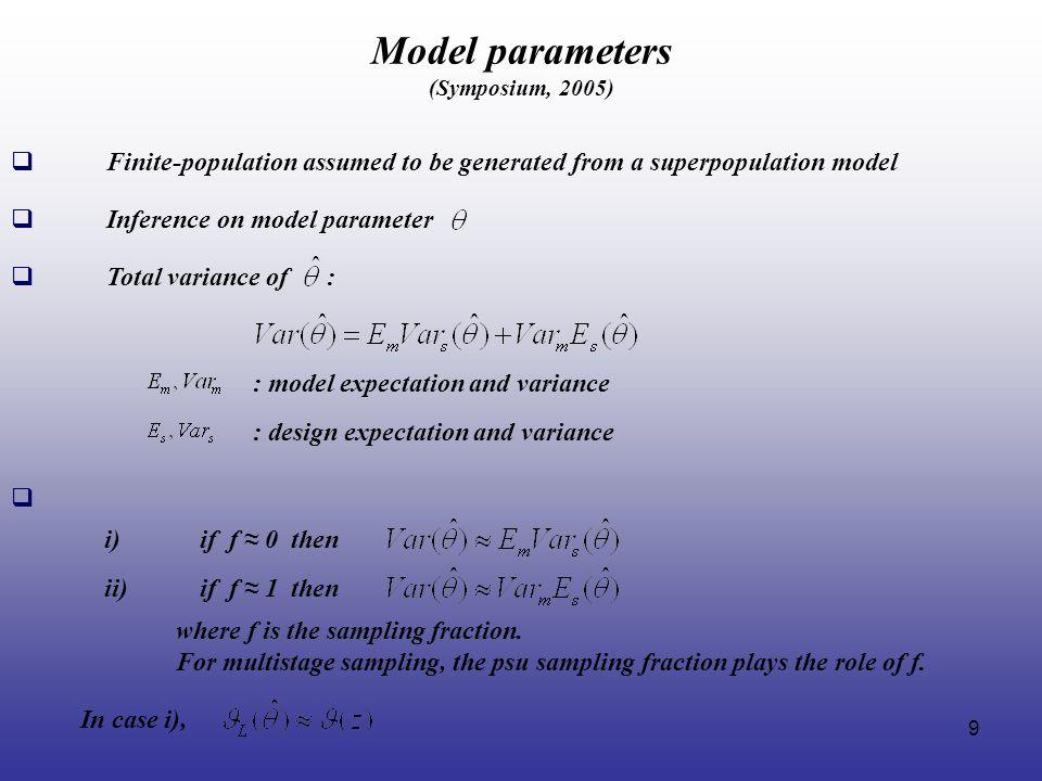 Model parameters (Symposium, 2005)