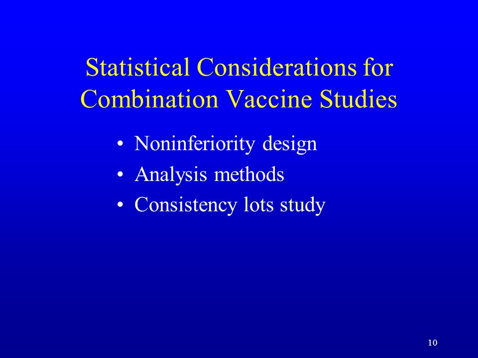 Statistical Considerations for Combination Vaccine Studies