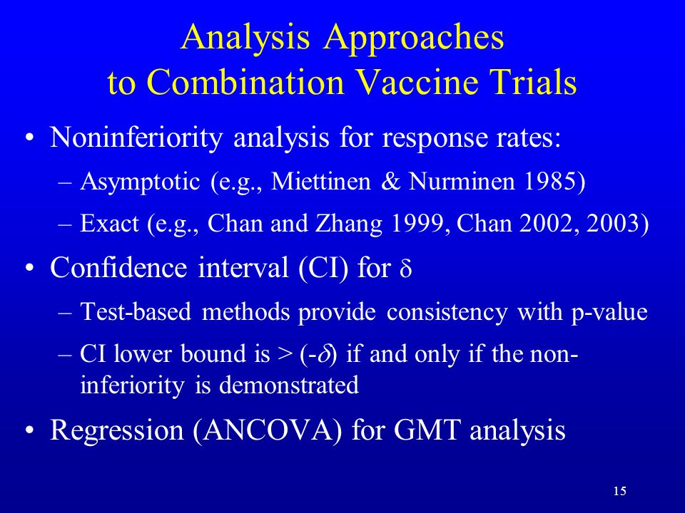 Analysis Approaches to Combination Vaccine Trials