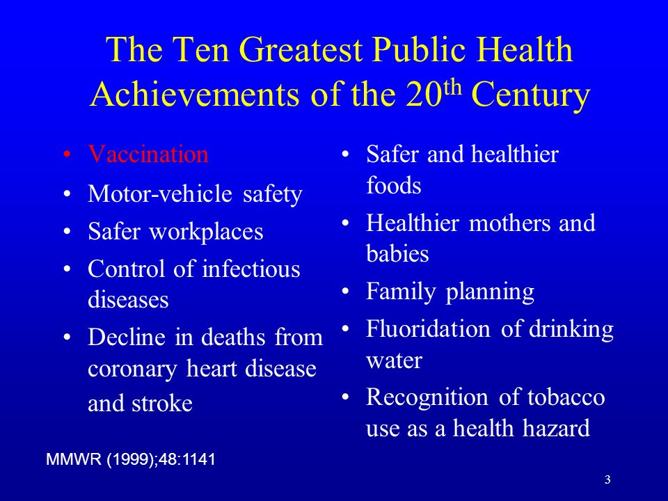 The Ten Greatest Public Health Achievements of the 20th Century