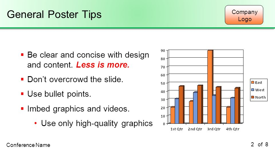 General Poster Tips 2/22/2011. Be clear and concise with design and content. Less is more. Don't overcrowd the slide.