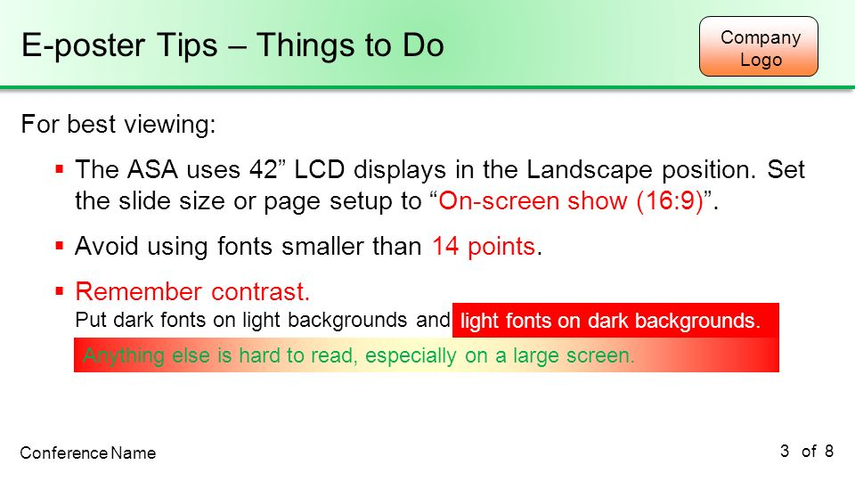E-poster Tips – Things to Do