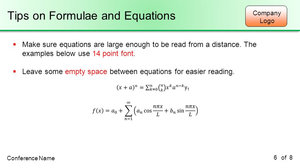 Tips on Formulae and Equations