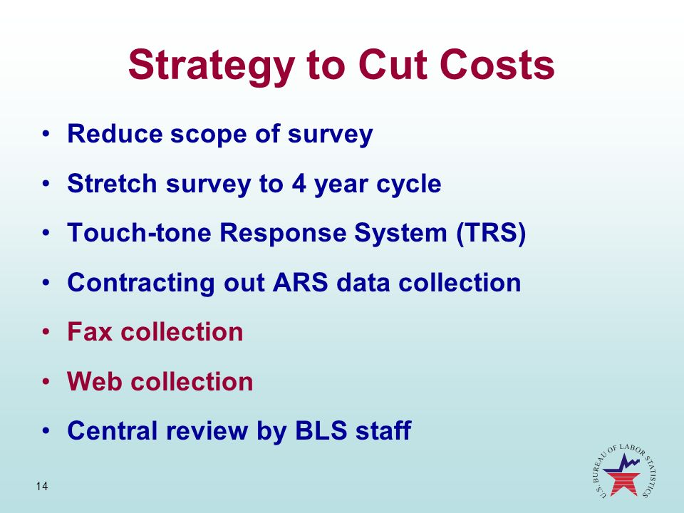 Strategy to Cut Costs Reduce scope of survey