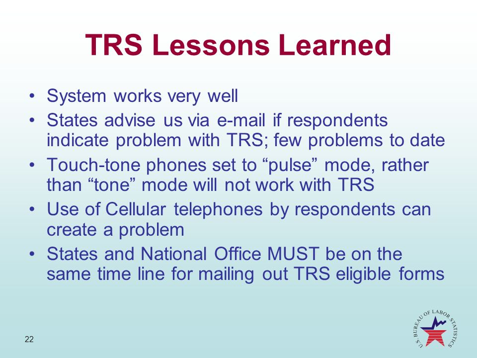TRS Lessons Learned System works very well