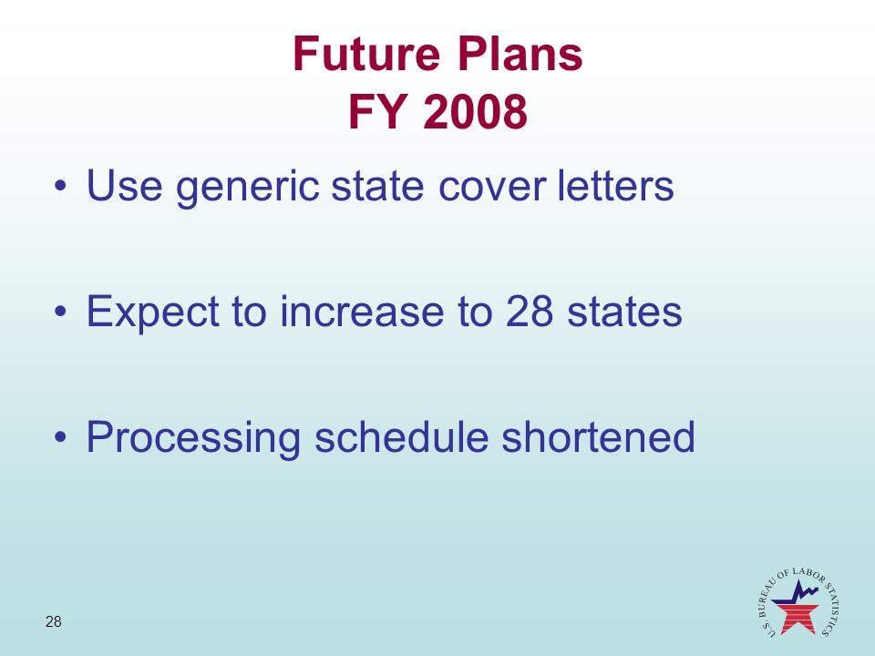 Future Plans FY 2008 Use generic state cover letters
