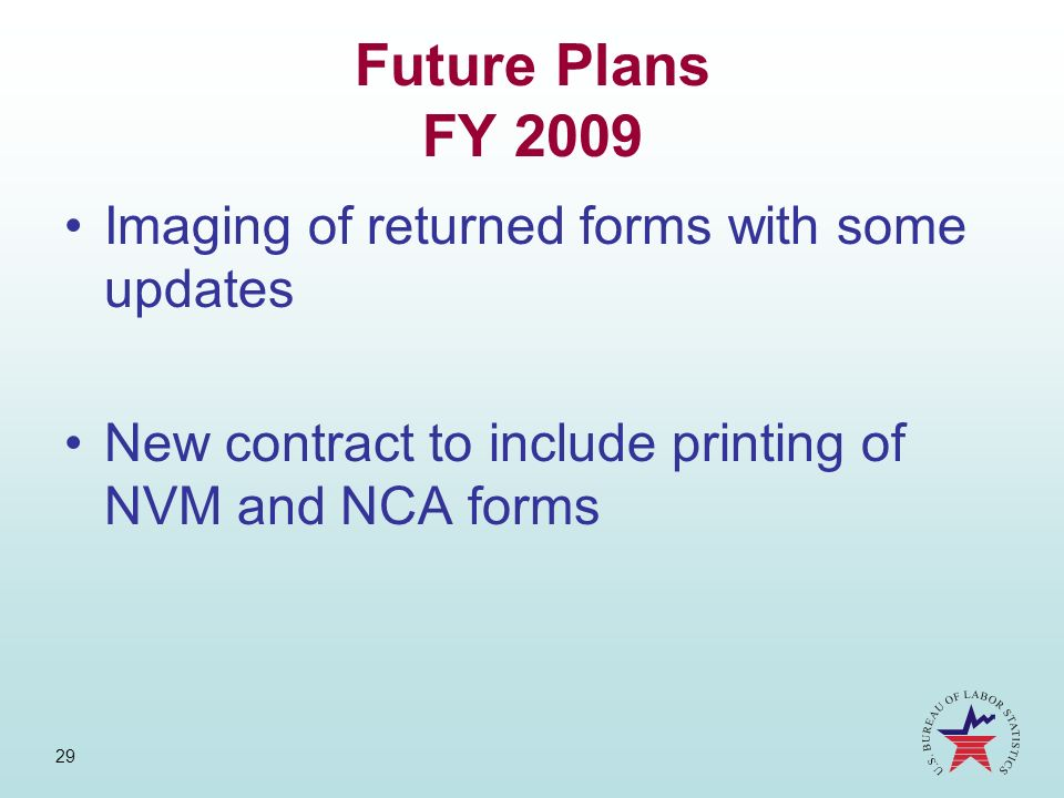 Future Plans FY 2009 Imaging of returned forms with some updates