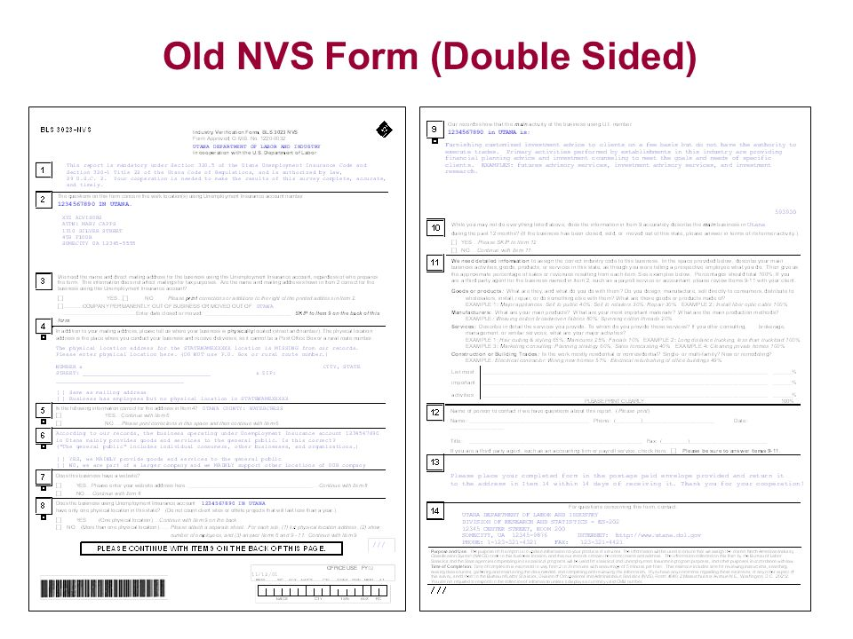 Old NVS Form (Double Sided)